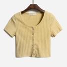 短袖T恤 修身短款露臍短袖t恤女2020夏季新款純色u領坑條上衣潮【快速出貨】