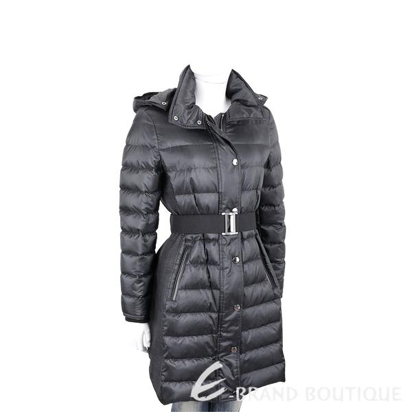 BURBERRY 可拆式連帽腰帶細節羽絨大衣(黑色) 1930280-01