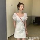 連身裙 泡泡袖白色連身裙女夏季2020新款法式小眾裙子顯瘦顯高氣質a字裙 嬡孕哺