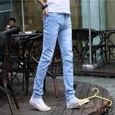 夏季薄款淺色牛仔褲 男士潮牌彈力修身小腳黑色休閒褲子男韓版潮流 萬聖節狂歡價