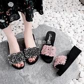 新款拖鞋女夏季外穿一字拖亮片增高防滑度假沙灘鞋休閒涼拖鞋坡跟 芊惠衣屋