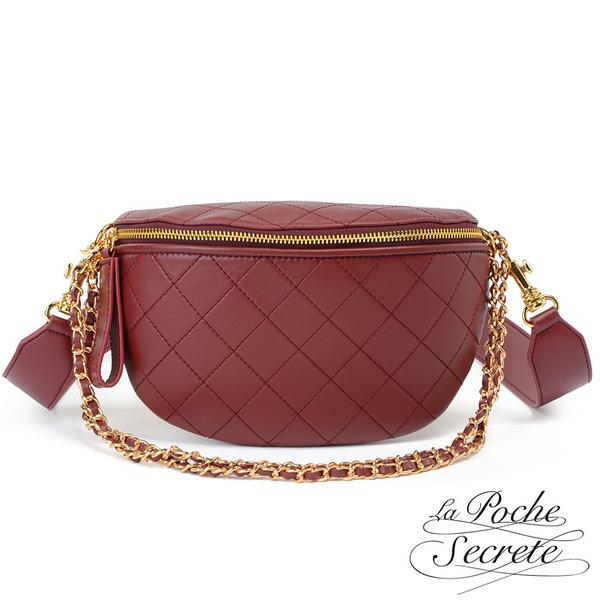 La Poche Secrete胸腰包 簡約真皮菱格鍊條斜背胸腰包-魅力紅 CHL-7197