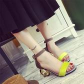 夏季女高跟涼鞋個性異形粗跟一字帶女鞋子