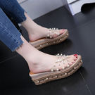 厚底草編拖鞋 女串珠塑膠坡跟涼鞋【多多鞋包店】z1936