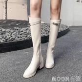 長靴子 長靴女秋冬加絨英倫白色皮靴子女高筒靴長筒馬靴騎士靴女 moon衣櫥