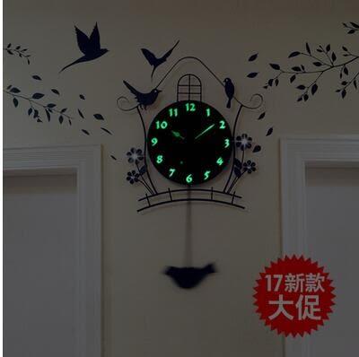 夜光現代裝飾歐式田園靜音搖擺掛鐘客廳時尚臥室創意個性小鳥鐘錶