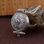 925純銀項鍊+墜子-嘎烏盒仿古圓型鑲紅鋯石男女飾品73ux15[時尚巴黎]