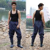 下水褲半身加厚耐磨防電捕魚褲超輕齊腰連體雨鞋雨褲防水褲子橡膠