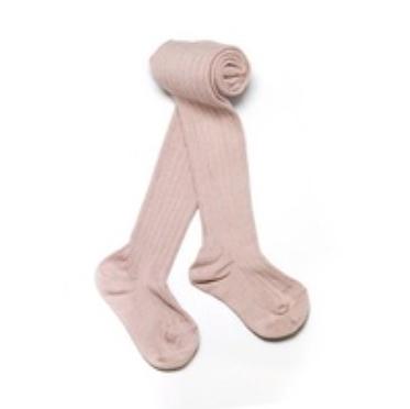 兒童 幼童 褲襪 【英國 Verity Jones】- 羅紋保暖褲襪 - 藕粉 #VJ15003