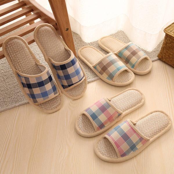 【2雙入】棉麻亞麻拖鞋女夏季居家室內情侶男【奇趣小屋】