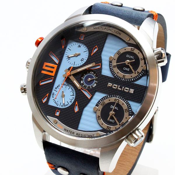 【萬年鐘錶】POLICE COPPERHEAD  計時腕錶  灰藍橘錶面 鋼殼  藍皮帶 男錶 大錶徑 54mm 14374JS-03