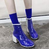 透明靴子女夏 新款歐美粗跟短靴網紅同款高跟鞋涼靴雨靴馬丁靴 米娜小鋪