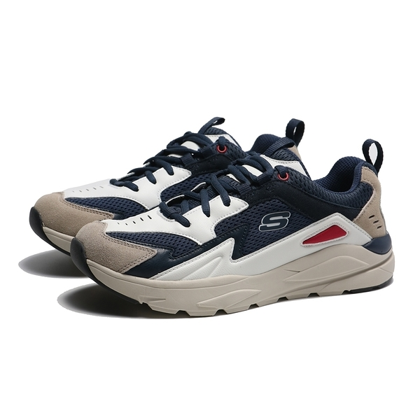 SKECHERS 休閒鞋 RELAXED FIT 藏青 網布 皮革 麂皮 男 (布魯克林) 210037NVW