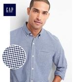 Gap男裝 舒適牛津紡彈力長袖襯衫227655-藍色方格花布