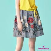 【SHOWCASE】細格紋玫瑰繡花腰褶短裙(黑)