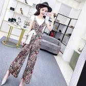 俏皮套裝女兩件套夏季韓版短袖T恤上衣花色繫帶V領吊帶闊腿連體褲