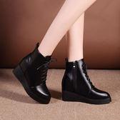 短靴 尖頭系帶鞋舒適粗跟鞋子 5CM防水臺《小師妹》sm222