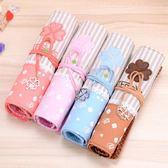 韓國時尚卷簾筆袋帆布筆簾 學生鉛筆文具盒布藝清新復古男女生「Top3c」