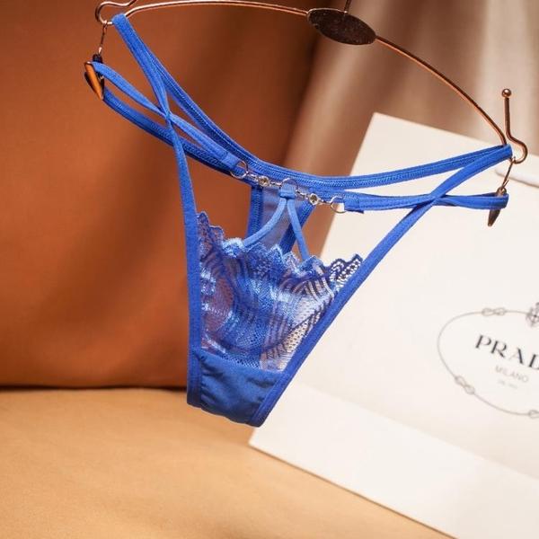 L'amour奢華-交叉帶時尚鉆飾內褲女士性感誘蕾絲低腰透明丁字褲Sexy Underwear【LET_2207】