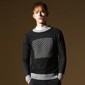 長袖針織衫-英倫風拚色圓點造型男針織毛衣2色73ik11[時尚巴黎]