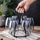 新款北歐鐵藝瀝水杯架 手提水杯收納架 家用6頭玻璃杯酒杯倒掛架 樂活生活館