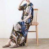 洋裝-長款寬版優雅復古舒適亞麻女連身裙73sm42[巴黎精品]