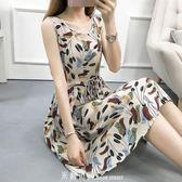 棉綢洋裝女2019夏裝新款寬鬆大碼收腰人造棉無袖背心裙沙灘裙潮 「米蘭街頭」