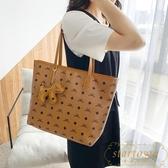 包包女軟皮通勤大容量購物袋單肩手提托特大包【繁星小鎮】