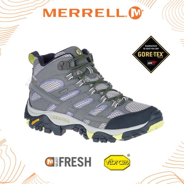 【MERRELL 女 MOAB 2 MID GORE-TEX 中筒靴《淺灰/淺紫》】ML19884/戶外多功能鞋/防水/登山