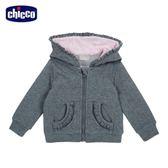 chicco-可愛動物系列-花紗灰荷葉邊外套-灰