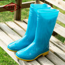 際華3517女高筒雨靴勞保女士中筒雨鞋工作防滑耐磨牛筋底加絨水鞋「時尚彩虹屋」