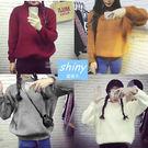 【V1243】shiny藍格子-冬心主張.純色圓領小半高領寬鬆長袖毛衣上衣