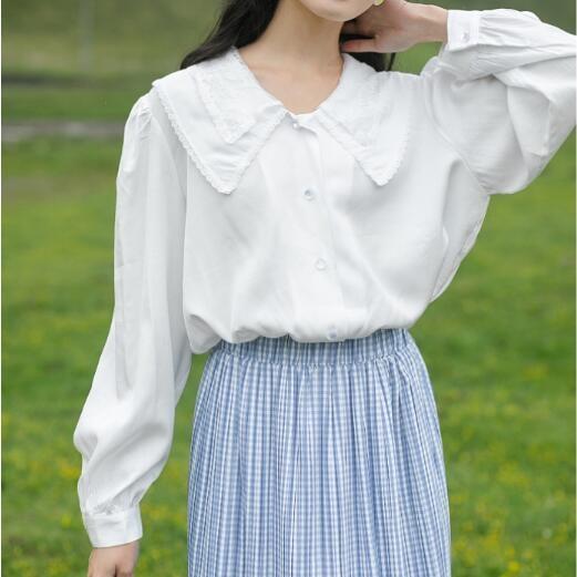 白色衬衫女设计感小众2020早秋新款韩版长袖别致上衣宽松衬衣