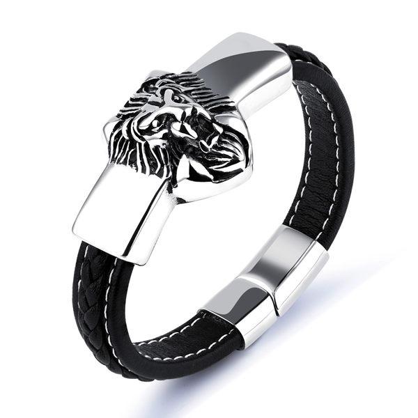 【5折超值價】情人節禮物經典流行美式風格獅子造型男款鈦鋼手環