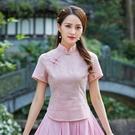 夏季短袖旗袍上衣復古改良中式修身顯瘦唐裝上衣 快速出貨