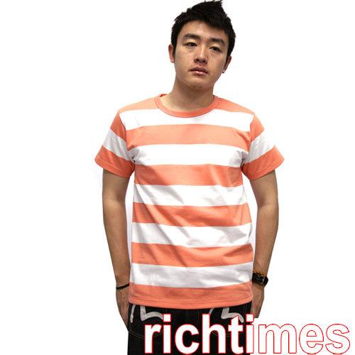 【裕代 agnes b】寬紋T恤(白橘) AB346418