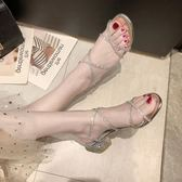 涼鞋粗跟羅馬涼鞋女仙女風2019新款夏季網紅百搭一字帶水鉆中跟高跟鞋 時尚新品