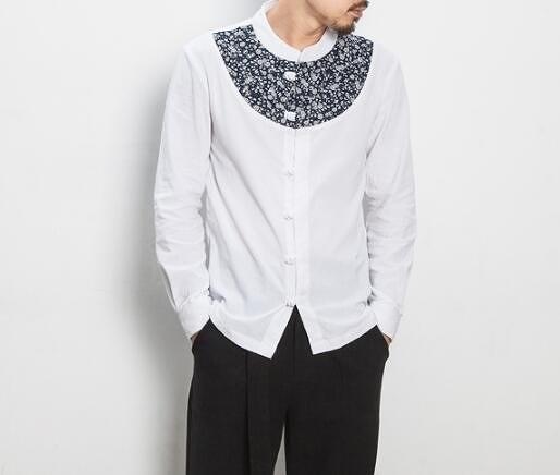 找到自己 MD 日系 潮 男 休閒簡約 亞麻 碎花拼接 繩結扣 襯衫 長袖襯衫 碎花襯衫