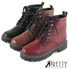 BA-28556 女款短筒馬汀靴 經典簡約綁帶短筒馬汀靴【PRETTY】