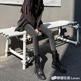 秋冬灰黑色牛仔褲女高腰顯瘦顯高緊身小腳鉛筆褲新款加絨褲子 雙十二全館免運