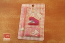 Hello Kitty 凱蒂貓 雙色筆+超迷你釘書機 文具組 方格粉 958219