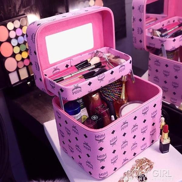 韓國化妝包大容量雙層折疊收納包手提專業化妝箱大號多功能簡約盒 polygirl