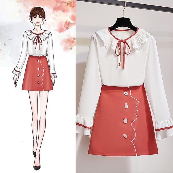 VK旗艦店 韓國風拼色雪紡衫排扣刺繡套裝長袖裙裝