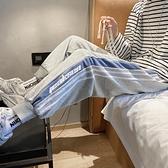 秋季衛褲男休閒褲條紋潮牌褲子潮流束腳小腳顯瘦長褲【全館免運】