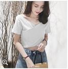 短袖T恤女夏裝V領短款高腰丅恤韓版潮學生露臍交叉緊身體桖上衣服 霓裳細軟