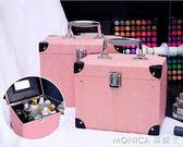 化妝箱小號便攜韓國簡約可愛少女心大容量化妝包手提化妝品收納箱 莫妮卡小屋