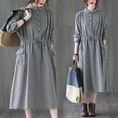 棉麻長袖洋裝秋裝文藝寬鬆大碼收腰抽繩大口袋休閒格子襯衫裙子-Milano米蘭
