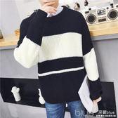 秋冬季男士毛衣韓版bf風寬鬆情侶拼色蝙蝠袖針織衫潮毛衣外套ins 深藏blue