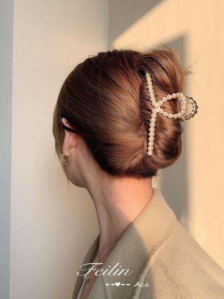 頭髮夾子頭飾珍珠抓髮夾后腦勺女髮卡抓夾大號韓國氣質網紅鯊魚夾 小天使