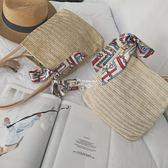 夏季新款韓版草編包單肩手提百搭清新文藝女包度假沙灘包 俏腳丫 俏腳丫